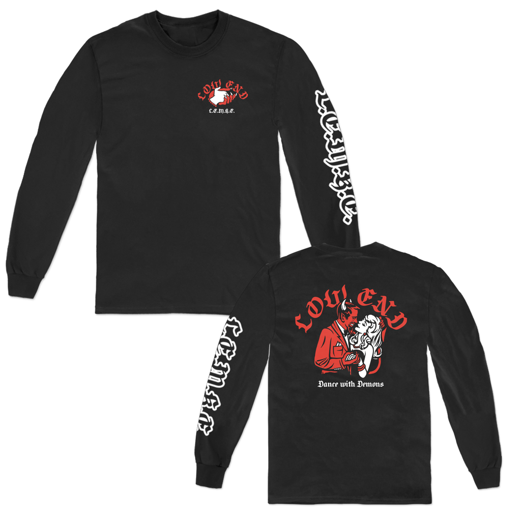 Low End Dance with Demons longsleeve with front, back, and sleeve prints on black Gildan Hammer apparel.