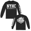 Madball NYHC Ball of Destruction design, printed on a black Gildan apparel long sleeve.