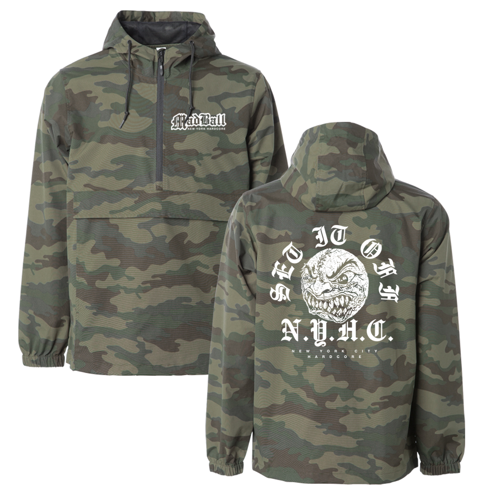 "Madball OE Arch design, printed on a midweight, 1/3 zip Independent Apparel camo jacket with large front ""Kangaroo Pocket."""