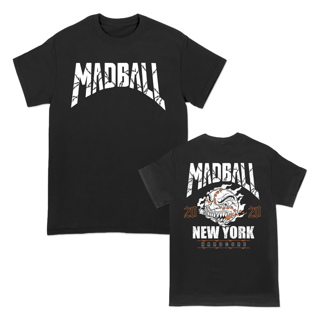 Madball NYHC band Barbed Wire Shield design with front and back prints on a black Gildan apparel tee.
