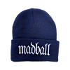 MADBALL LOGO EMBROIDERED BEANIE ON NAVY