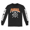 Madball NYHC Cross 2019 design, printed on a black Gildan Apparel long sleeve.