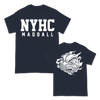 Madball NYHC Ball of Destruction design printed on a navy tee.