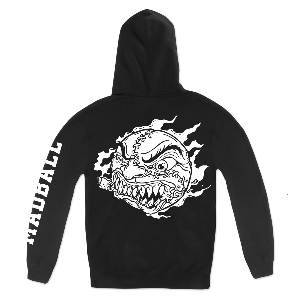 Madball NYHC Ball design printed on a black pullover hoodie.