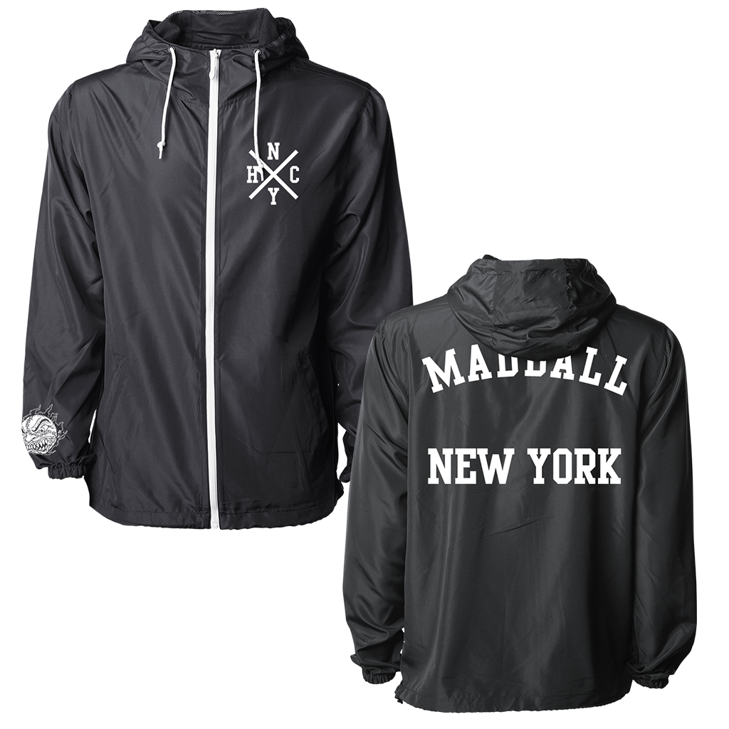Madball New York Arch design printed on a black zip up jacket.