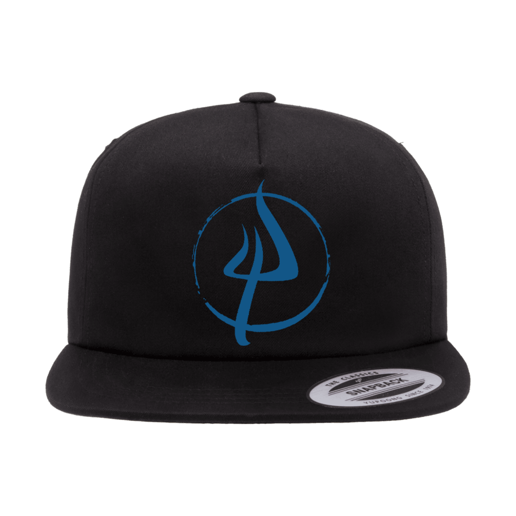 Pitchfork NY Hardwear's Distressed Circle Logo design embroidered on the front of a black Yupoong Classics structured snapback cap.