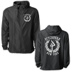 "Pitchfork Hardwear's ""NY Laurel"" design, printed on the front and back of an all-black Independent Apparel jacket."