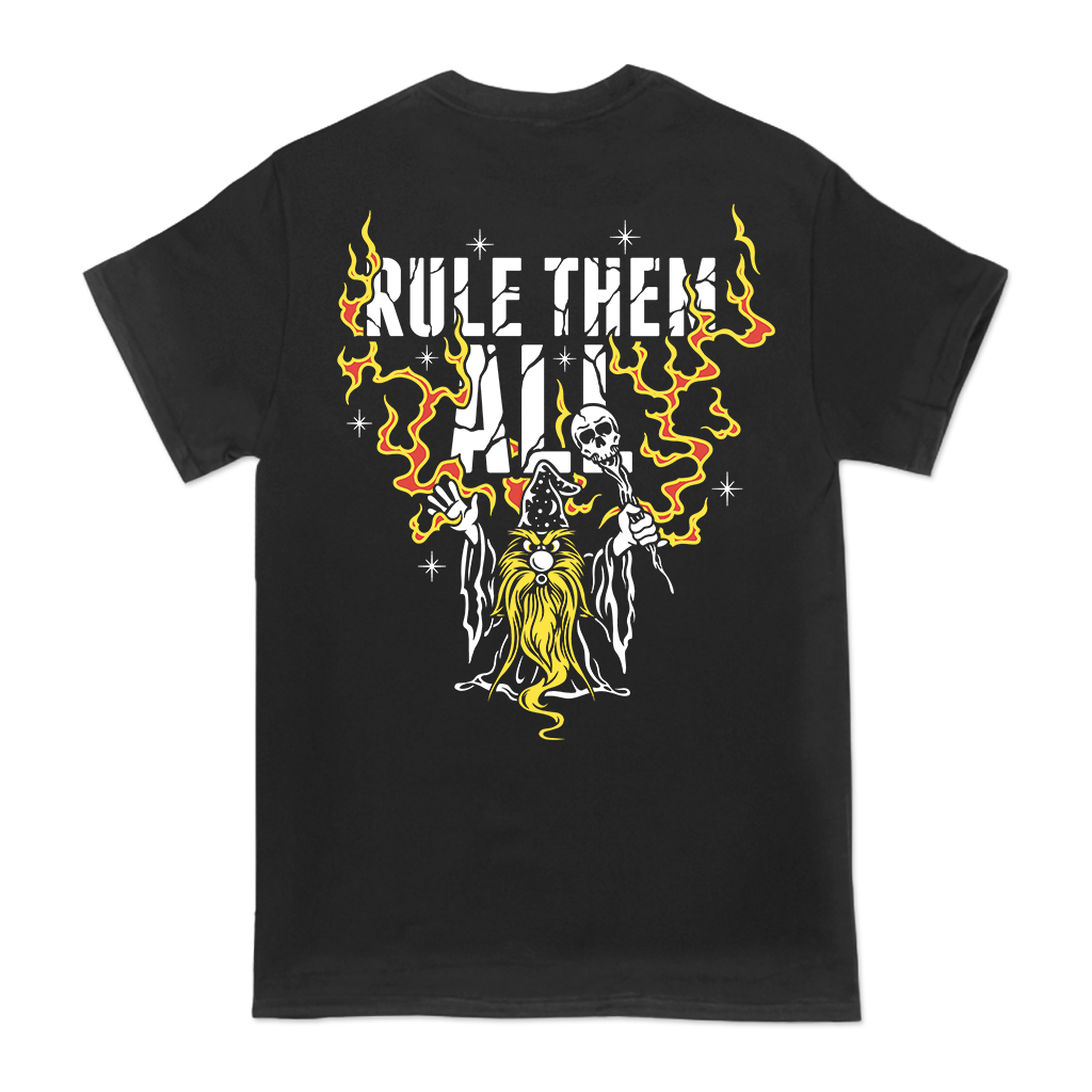 Rule Them All wizard design printed on the left chest and back of a black tee.