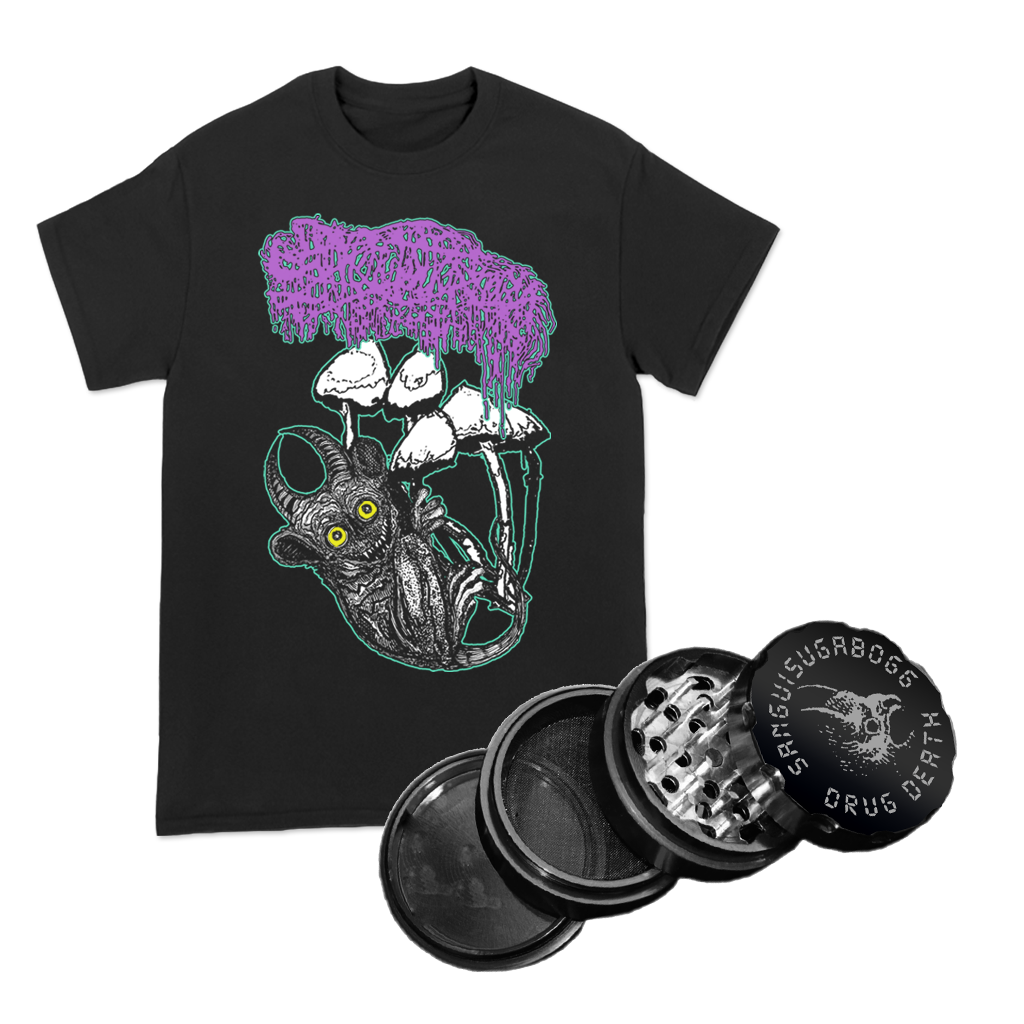 "Sanguisugabogg ""Drug Death"" grinder, featuring the band's drug death design on a hard-wearing black metal grinder PLUS their ""Baby Mushroom"" design with a multi-color front print on a Gildan Hammer tee in black."