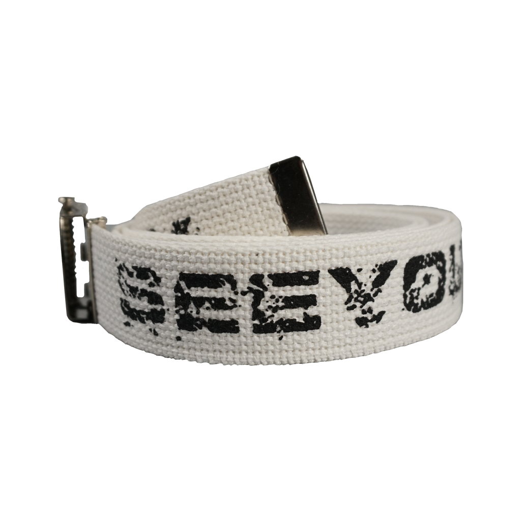 "See You Space Cowboy band's logo design on adjustable military web belt with metal buckle. White option has white fabric and chrome buckle with black print. Black option has black fabric and black buckle with white print.  Constructed Of 100% Cotton Material, Belts Measure: 54"" X 1 1/4"""