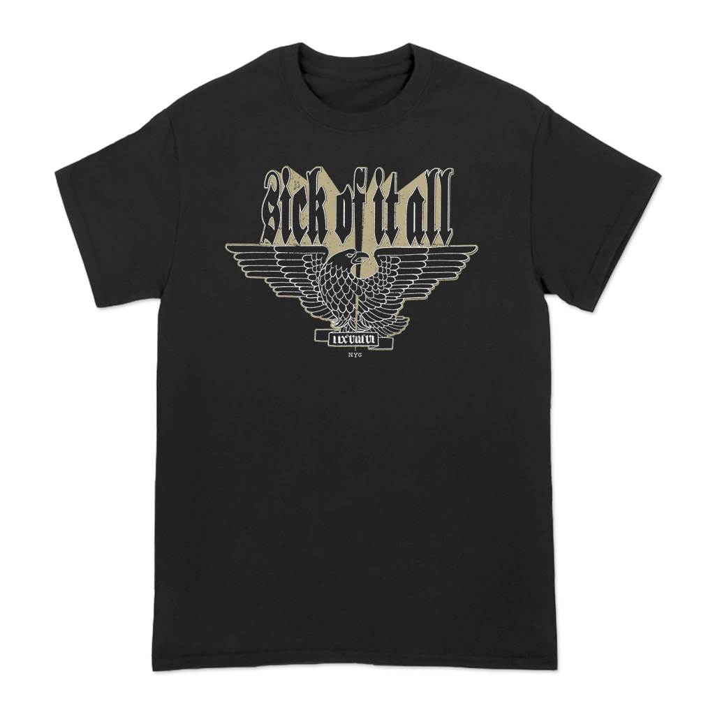 "Sick Of It All ""Outline Eagle"" design, printed on the front of a black tee."