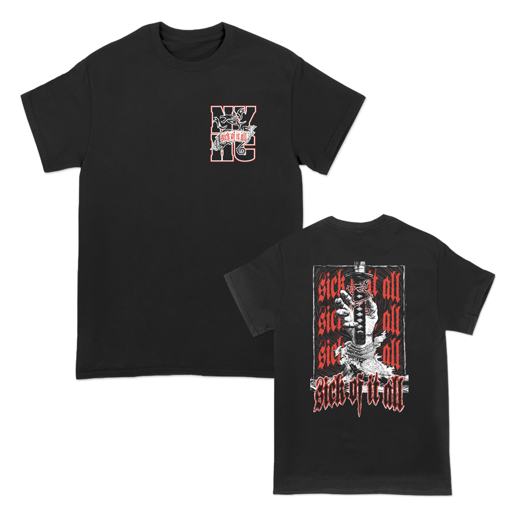 Sick Of It All Ronin design with red and white left chest and back prints on a black Gildan Apparel tee shirt. NYHC