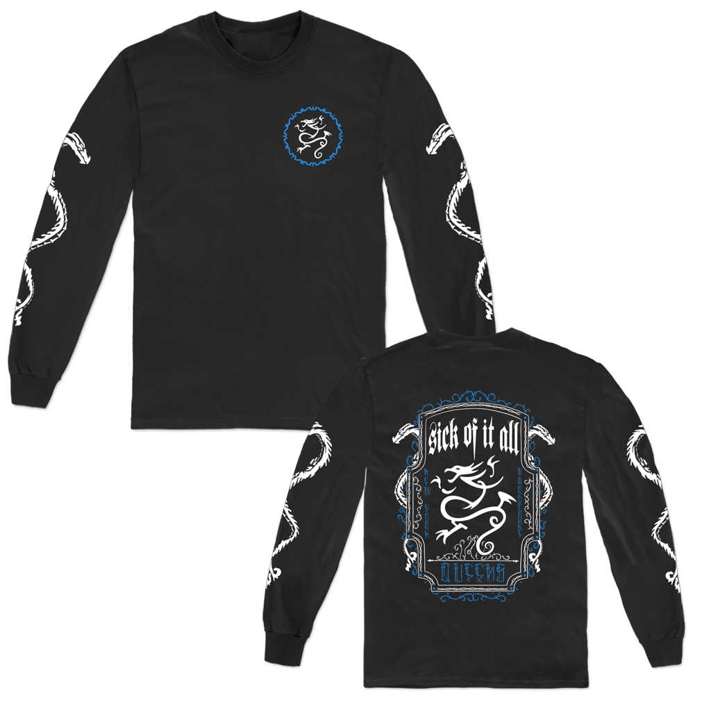 Sick of It All Dragon Rope Design with front, back, and sleeve prints on a Gildan Apparel black long sleeved shirt.
