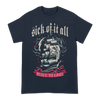 "Sick Of It All ""Built To Last Ship"" design, printed on the front of a navy blue Gildan Apparel tee."