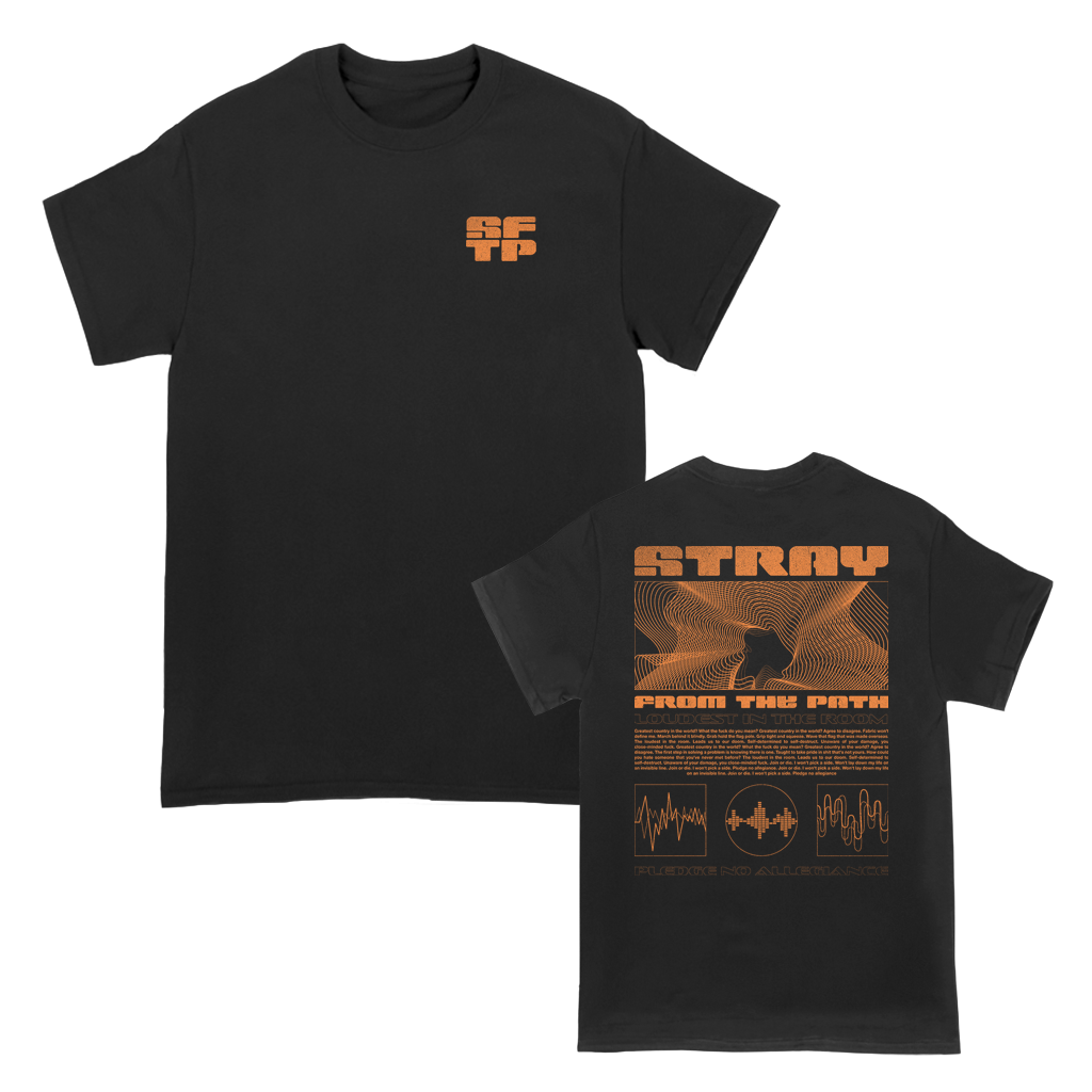 "Stray From The Path ""Loudest In The Room"" design, printed on the front and back of a black tee."