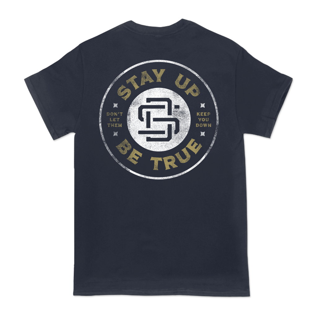 "Street Dogs ""Keep You Down Circle"" design, printed on the front and back of a navy tee."