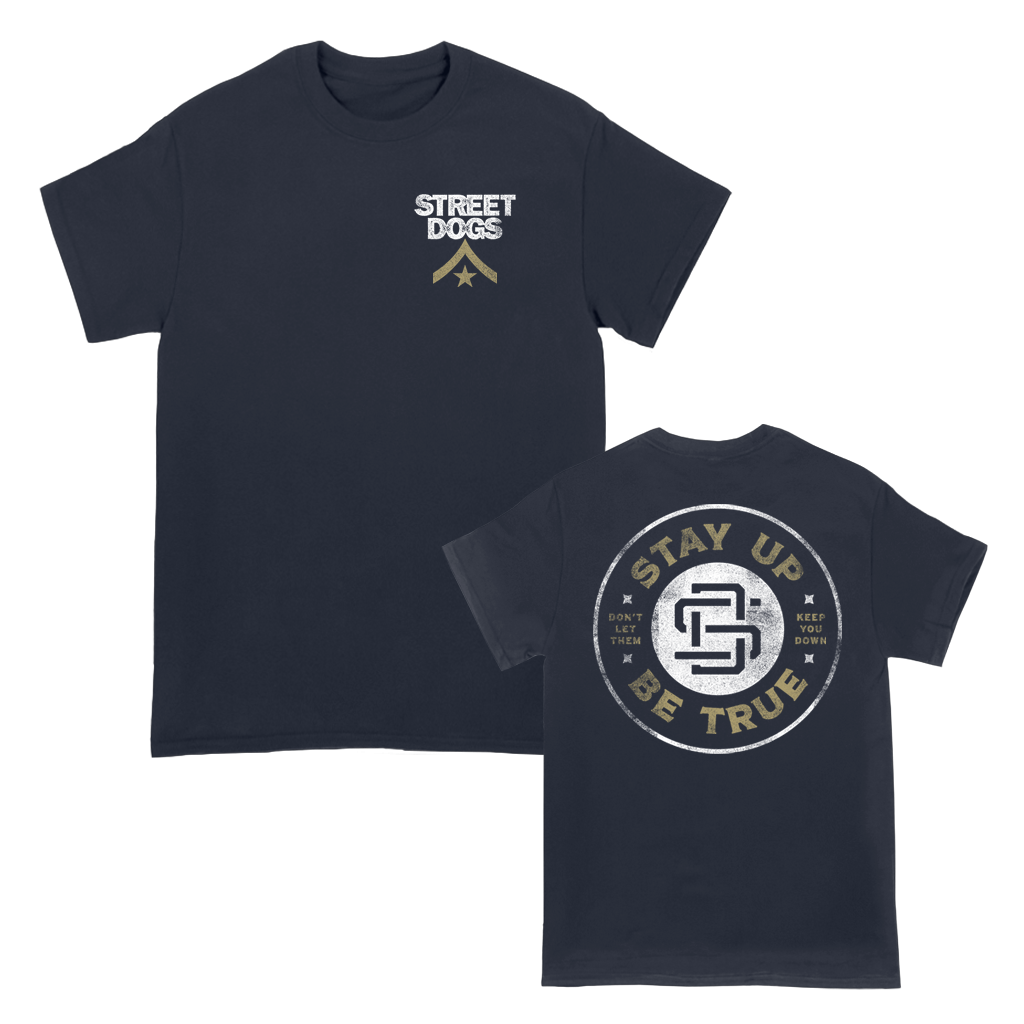 "Street Dogs ""Keep You Down Circle"" design, printed on the front and back of a navy women's/ladies' tee."