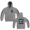 "Terror ""Keepers"" design, printed on the front, back, and both sleeves of a light steel colored Champion Apparel pullover hooded sweatshirt."