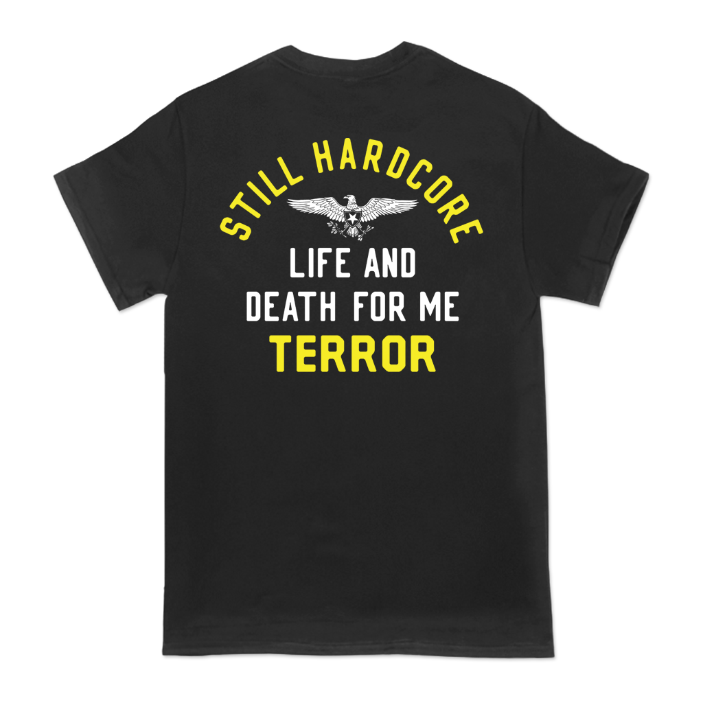 Terror Life and Death design, printed on a black Alstyle Apparel tee.