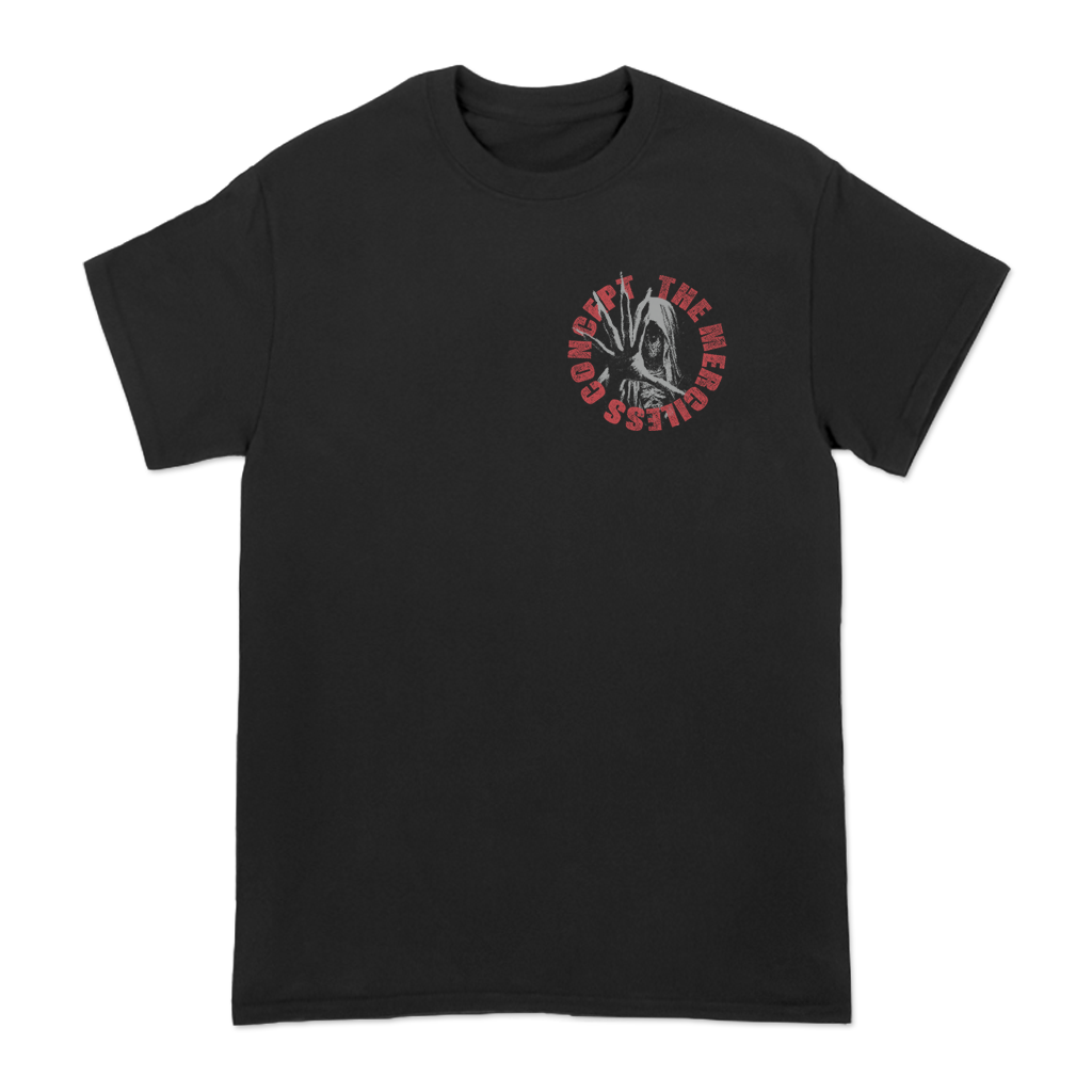 "The Merciless Concept circular left chest and ""sessions of pain"" stacked text design, printed on the front and back of a black Gildan Apparel tee."