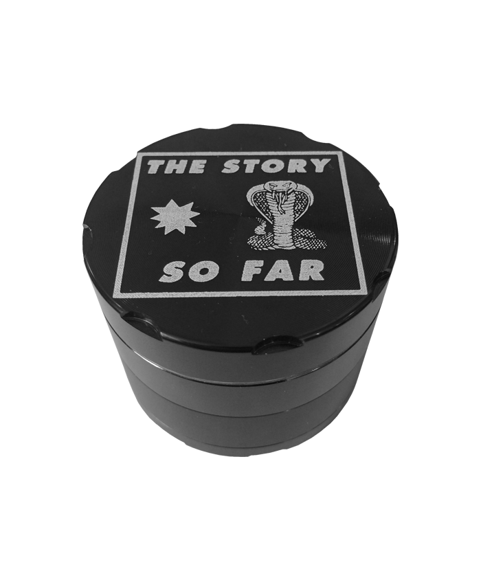 Presenting our The Story So Far Snake Grinder - the perfect kitchen accessory for grinding herbs, spices, and other dried plants in style. Featuring the band's name, a cobra and a star on a hard-wearing black metal grinder.