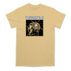 "Turnstile ""Need Time"" officially licensed design, printed on the front of a yellow Comfort Colors Apparel tee.  Tee features include: 6.1 oz., 100% ring spun cotton; soft-washed garment-dyed fabric; double-needle collar; twill taped neck and shoulders; double-needle armhole, sleeve, and bottom hems; and a twill label and joker label."