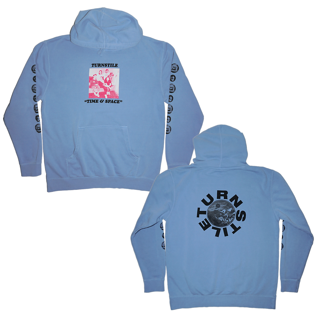 "Turnstile ""Time & Space"" design, printed on the front, back, and sleeves of a light blue unisex midweight pigment-dyed hooded pullover.  Art in collaboration with Julian Consuegra.  Hoodie specs include: 9oz., 80/20 cotton/ polyester blend fleece with 100% ring spun cotton face 30 singles face yarn; standard fit, jersey lined hood, split-stitched double-needle sewing on all seams, twill neck tape, 1x1 ribbing at cuffs & waistband, sewn eyelets, front pouch pocket, and custom loop label."