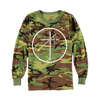 "Uniform ""Cross Circle"" design, printed on the front of a camouflage-patterned long sleeve tee."