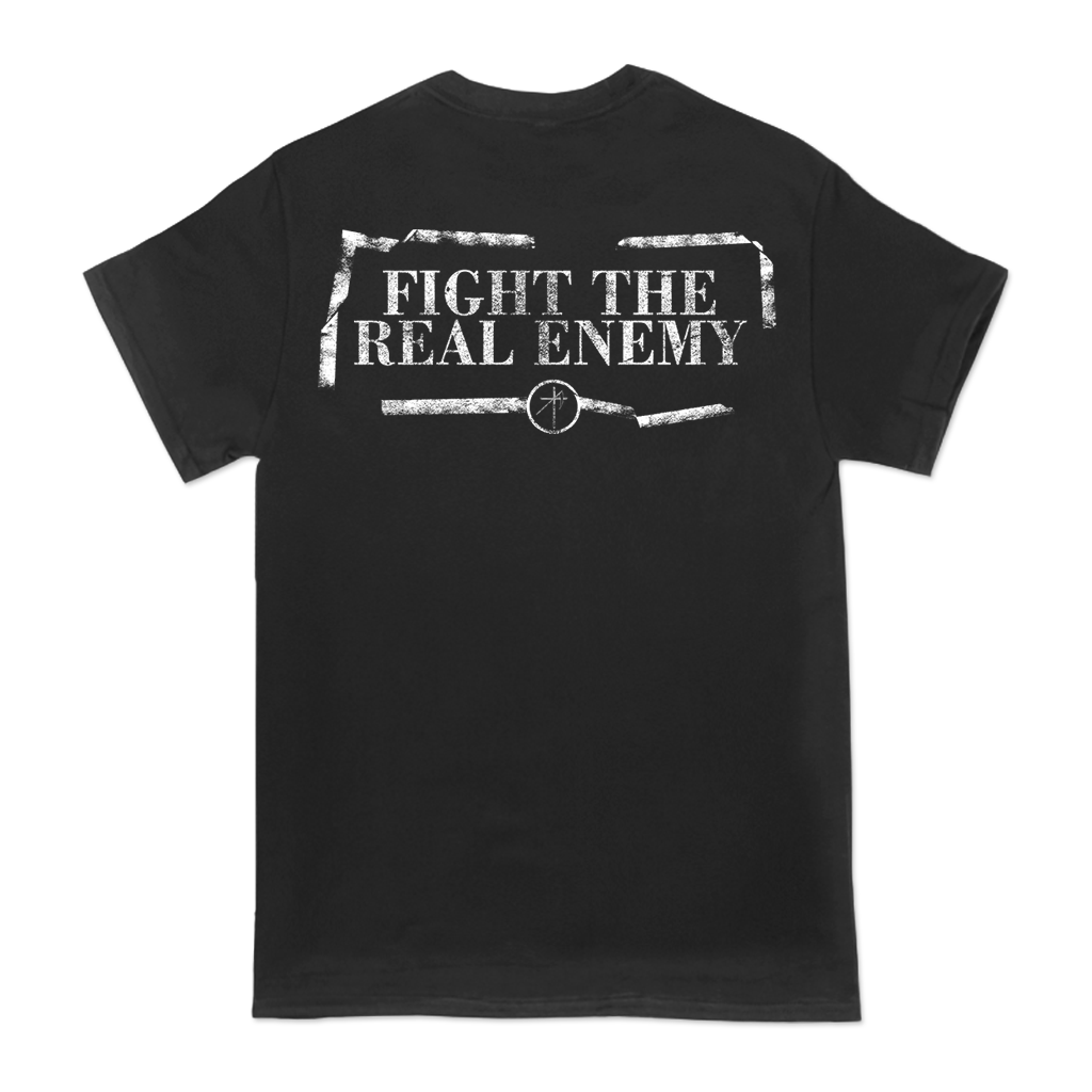 "Uniform ""The Long Walk"" design, printed on the front and back of a black tee."