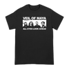 "Veil Of Maya ""All Eyes Look Ahead"" design, printed on the front of a black Gildan Hammer Apparel tee.  Tee features include: 6 oz., 100% preshrunk combed ring spun cotton, classic fit, seamless non-topstitched 7/8"" collar, taped neck and shoulders, 7/8"" double needle sleeve and bottom hems, quarter-turned to eliminate center crease, and a tearaway label."