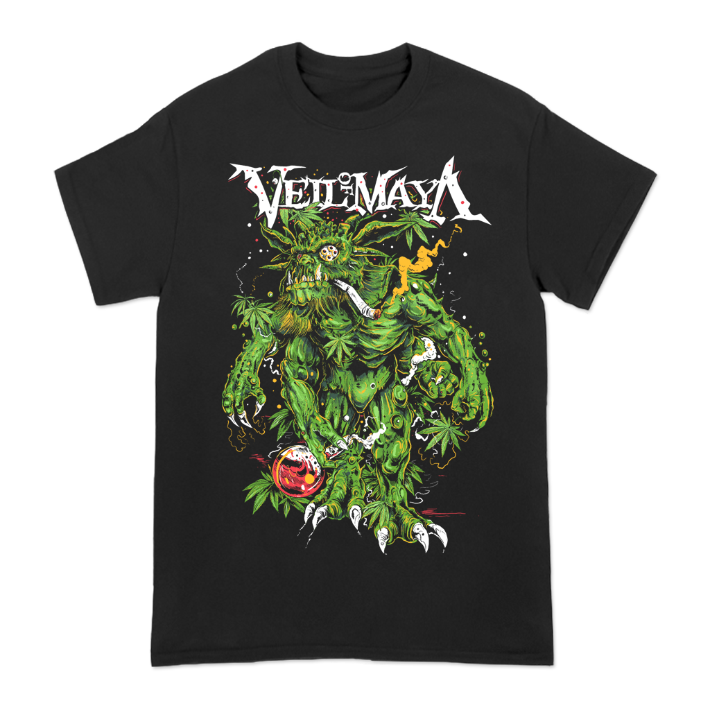 "Veil Of Maya ""Demonic Chronic"" design, printed on the front and back of a black Gildan Apparel tee.  Tee features include 5.3 oz., 100% preshrunk cotton; classic fit; seamless double needle 7/8"" collar; taped neck and shoulders; double needle sleeve and bottom hems; quarter-turned to eliminate center crease; and a tearaway label."