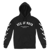 "Veil Of Maya ""Members Only"" design, printed on the front and both sleeves of a black Gildan Apparel pullover hooded sweatshirt."