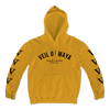 "Veil Of Maya ""Members Only"" design, printed on the front and both sleeves of a gold Gildan Apparel pullover hooded sweatshirt.  Hoodie features include 8 oz. 50/50 preshrunk cotton/polyester; air jet yarn for a softer feel and reduced pilling; double-lined hood with color-matched drawcord; double needle stitching at shoulder, armhole, neck, waistband and cuffs; pouch pocket; 1 x 1 rib with spandex; quarter-turned to eliminate center crease; and a tearaway label."