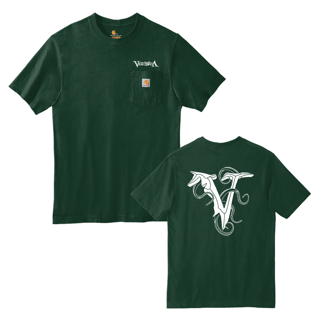 "Veil of Maya ""Outline Tentacles"" design, printed on the front and back of a dark green Carhartt pocket tee."