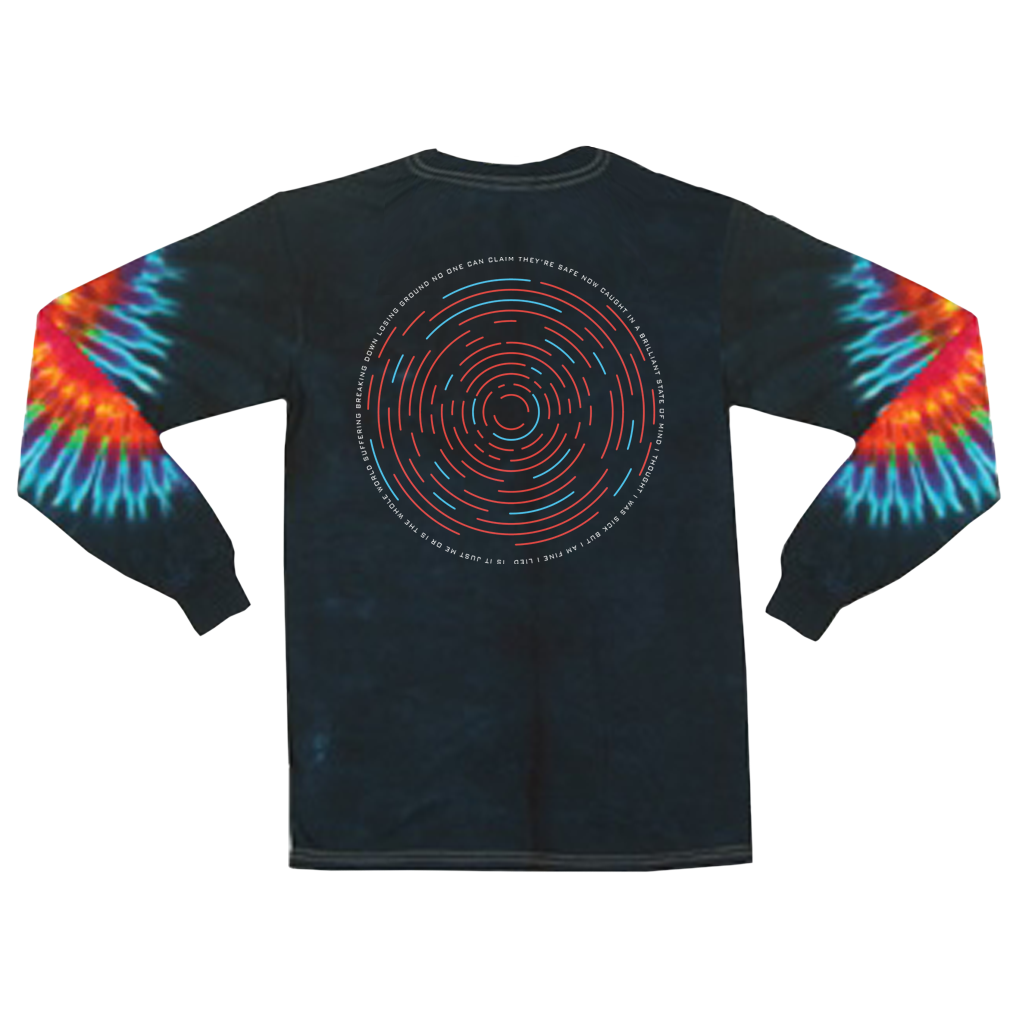 "Veil of Maya Outsider design with front and back prints on a midnight long sleeve shirt with custom dyed sleeves. Featuring song lyrics off their new track, Outsider: ""I'm just a misfit, leave me to die, the world can't fix it..."""