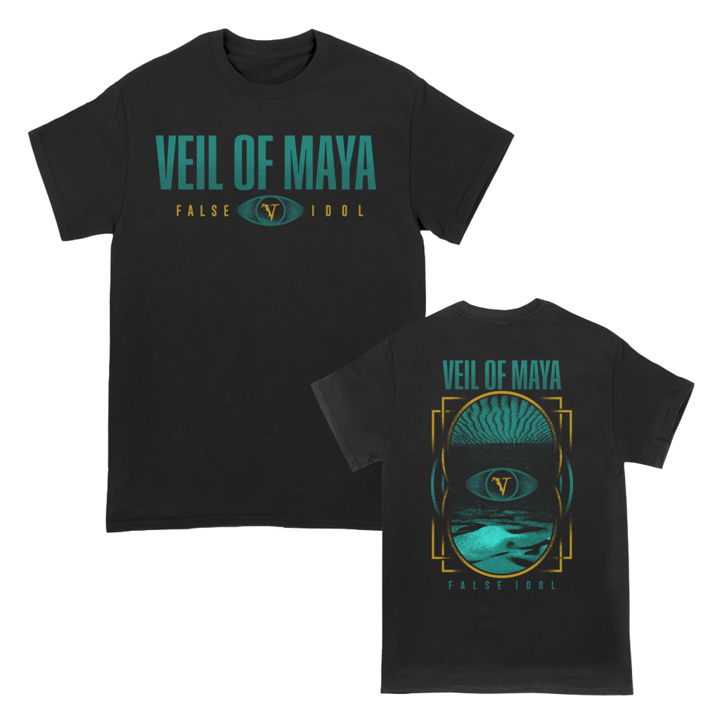"Veil Of Maya ""Sand Eye"" design, printed on the front and back of a black tee."