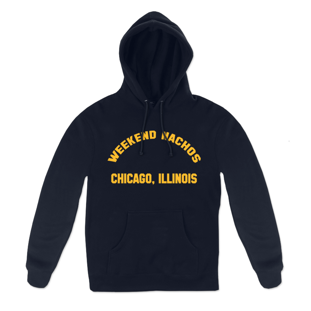 "Weekend Nachos ""Watch You Suffer"" design, printed on the front and back of a navy blue pullover hooded sweatshirt. Featuring the words ""Watch You Suffer"" on back of sweatshirt with graphic and front design in vibrant yellow."