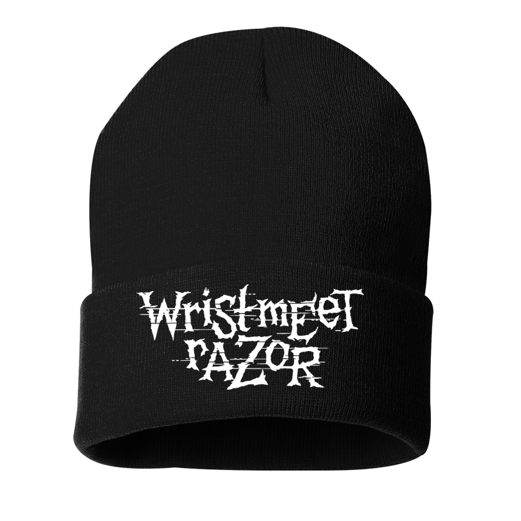 "Wristmeetrazor Stack Logo, embroidered on a black knit beanie.  Beanie features include 80/20 acrylic knit/polyester fleece, 100% acrylic exterior and 100% polyester interior, 12"" knit, and an adjustable cuff (shown as 3"")."