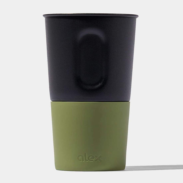 product: Alex 16 Oz Bottle Opener Cup Black Powder Coat & Olive Soft Touch