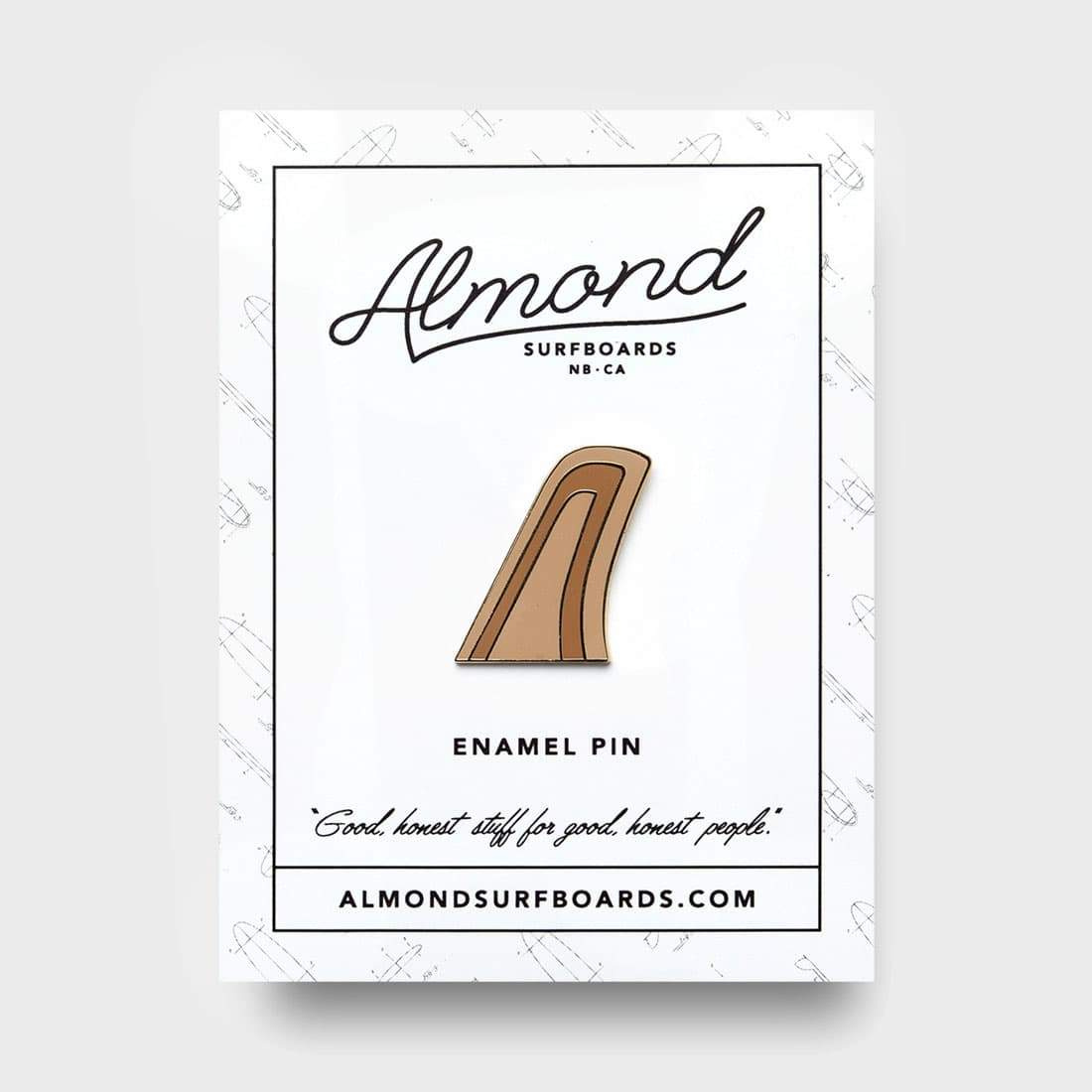 Almond Surfboards Huck Fin Pin Brass