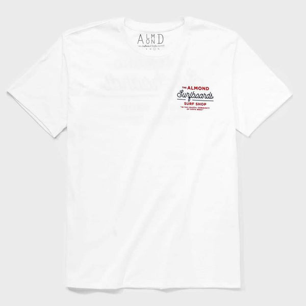 product: Almond Surfboards Surf Shop Tee White