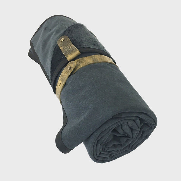 product: Belmont Blankets Hellagood Adventure Blanket Melange Gunmetal / Charcoal Fleece