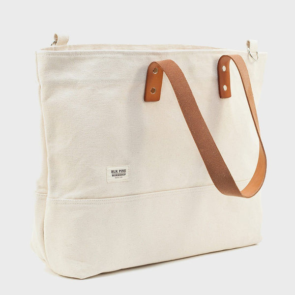 product: Blk Pine Classic Leather Canvas Medium Tote Natural