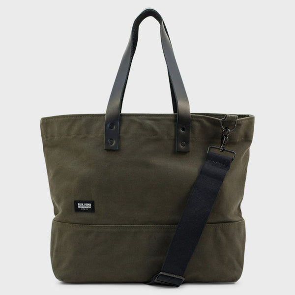 product: BLK PINE Classic Leather Canvas Medium Tote Olive