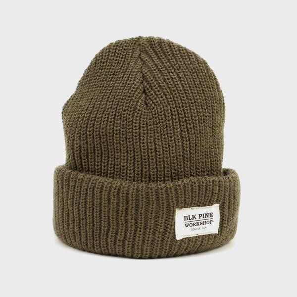 BLK PINE Single Gauge Beanie Olive