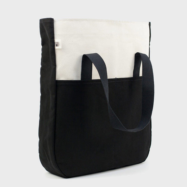 product: Blk Pine Standard Utility Tall Tote Natural/Black