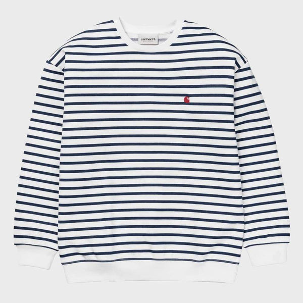 product: Carhartt WIP Women's Robie Sweatshirt Robie Stripe White / Blue  Goji Stripe