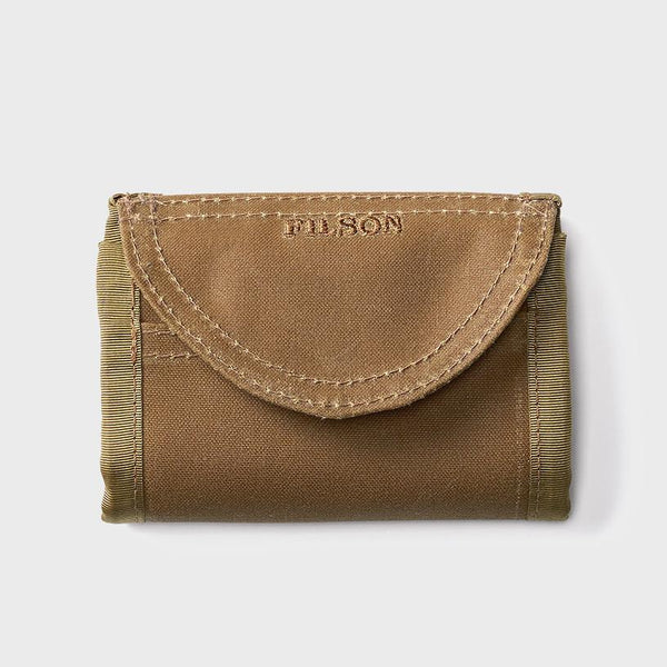 product: Filson Oil Tin Tri Fold Wallet Dark Tan