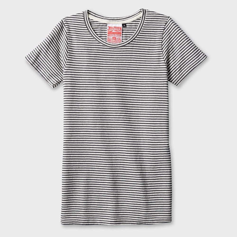 Jungmaven Yarn Dyed Short Sleeve T-shirt 7 oz Diesel Gray Stripe