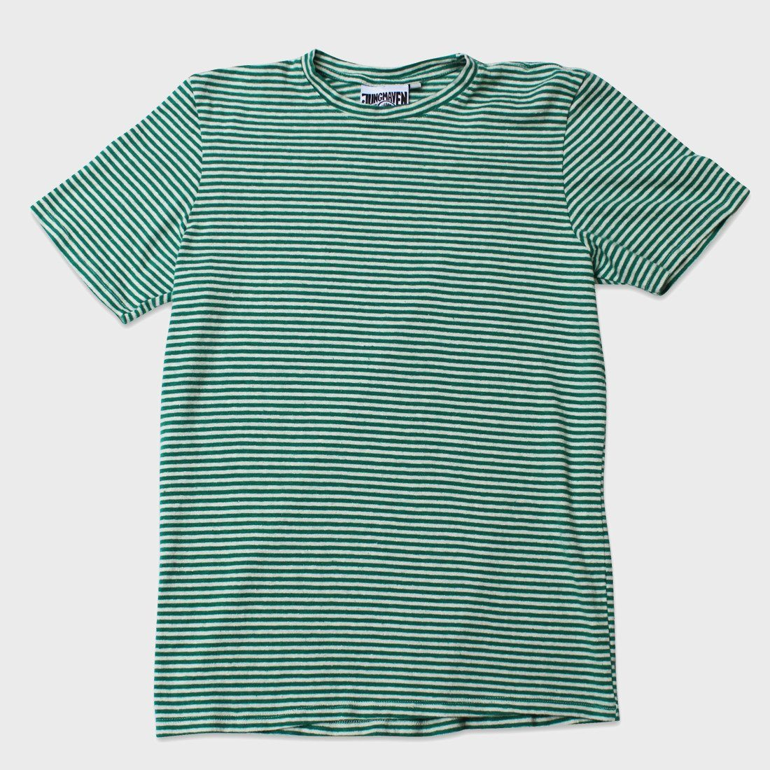 Jungmaven Yarn Dyed Short Sleeve T-shirt Basil Green Stripe